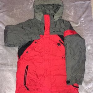 Red/Grey Columbia Boys Snow Coat With Hood